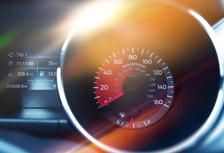 Ground Speed Tachometer. Speed Control Modern Car Dashboard Concept.