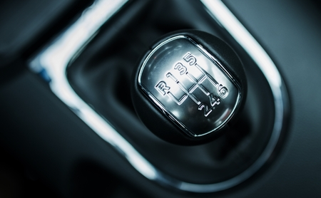 Manual 6-Speed Transmission Shifter. Modern Car Shifter. Stock Photo