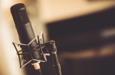 vocals: Professional Tube Microphone in the Recording Studio. Microphone Closeup. Stock Photo