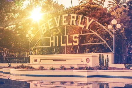 Welcome in Beverly Hills, California. City Park and the Famous Sign. California, United States.