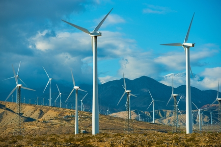 mill valley: Windy Mountains Spot and Wind Turbines in Souther California Palm Springs Area. Stock Photo