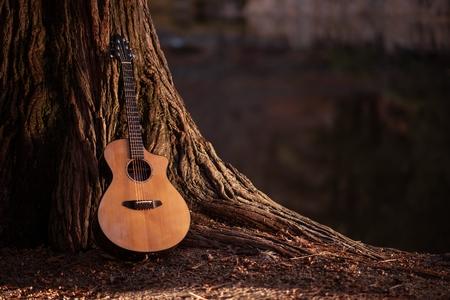 木製のアコースティック ギターとツリーの音楽概念の写真。