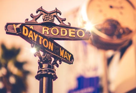 famous: World Famous Rodeo Drive Street in Beverly Hills, California, United States. Luxury Shopping on the Rodeo.