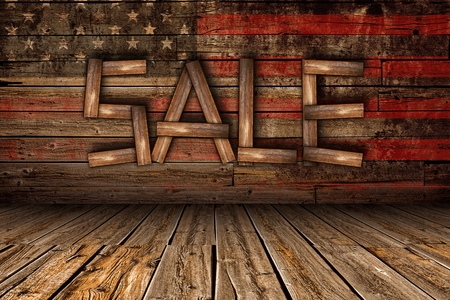 oldish: American Wood Sale Business Concept Illustration with Wooden Wall and Floor with Sale Wording Made From Wood Planks. Stock Photo