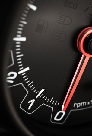 rounds: Black Car Tachometer Closeup. Rounds Per Minute Tacho. Car Technologies.