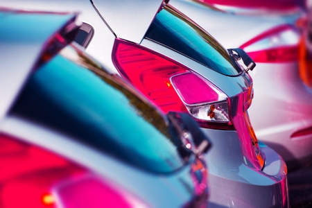 cars parking: Cars Marketplace. Brand Cars For Sale Parked on the Lot. Car Business Stock Photo