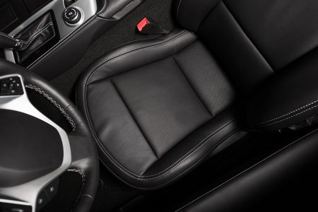 Driver Seat Photo From Above. Black Car Leather Interior. Driving Theme.