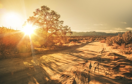 California Sandy Country Road During Scenic Sunset. California, United States. Stock Photo