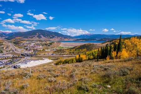 colorado rocky mountains: Silverthorne Colorado and Interstate Highway 70. Colorado Rocky Mountains. Stock Photo