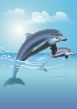 dolphin jumping: Two Happy Jumping Dolphins Digitally Created Illustration.  Stock Photo