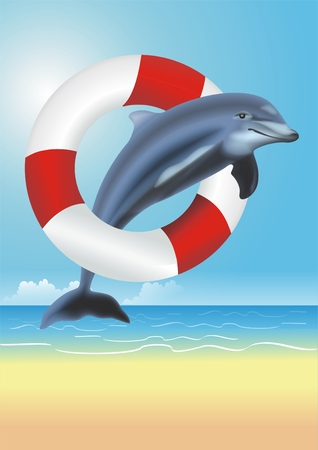lifesaving: Lifesaving Dolphin Illustration. Dolphin Jumping Thru the Red and White Lifesaving Ring. Lifeguarding Concept Illustration. Stock Photo