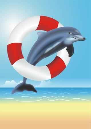 Lifesaving Dolphin Illustration. Dolphin Jumping Thru the Red and White Lifesaving Ring. Lifeguarding Concept Illustration. Stock Photo