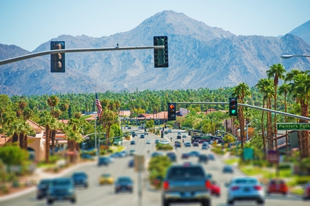 california: Palm Springs Highway and the Cityscape. Palm Springs, California, United States. Coachella Valley.