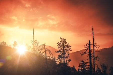 Bernardino: Scenic California Sunset in San Bernardino Mountains. California Landscape.