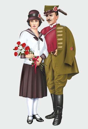 historical clothing: Historical Polish Sokół Society Traditional Costume. Sokół Member and His Wife Illustration Isolated on Solid Grey. Polish Historical Clothing. Editorial