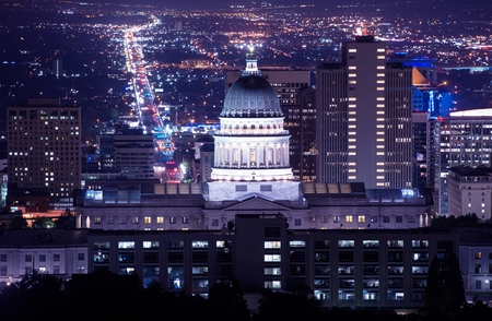 cityscape: Utah Capitol Building in Salt Lake City. Night Time Panorama.