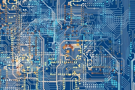 electronic board: Colorful Circuit Board Background Illustration. Circuit Connections. Stock Photo