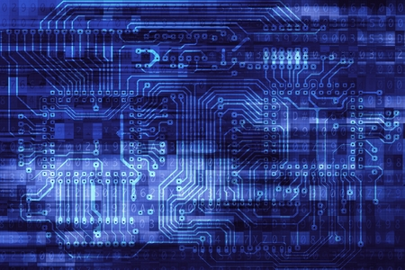 electronic circuit: Electronic Data Safety Concept Background Illustration with Circuit Board and Digital Overlay Background. Hardware and Software Internet Technologies Concept.