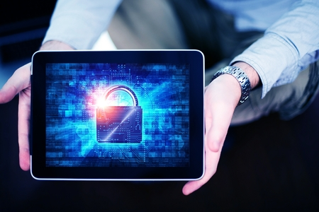 Mobile Internet Safety Concept with Men Showing Tabled Computer with Padlock Security Illustration. Mobile Internet Using and User Protection.