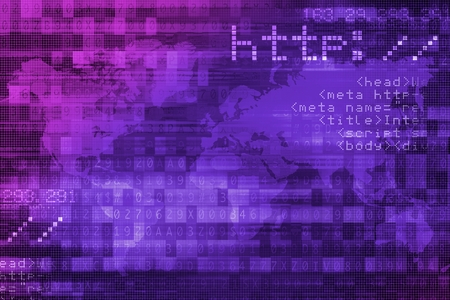 http: Online Internet Safety Purple Digital Background Concept. Stock Photo