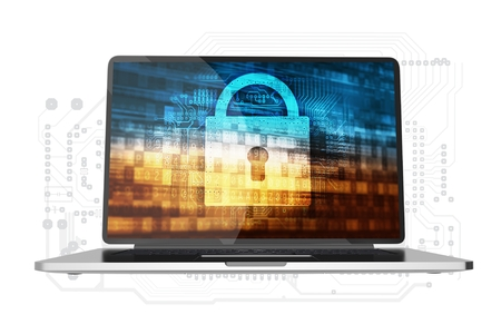 online privacy: Safe Computer Access Conceptual Illustration. Modern Laptop Computer with Padlock and Digital Background Concept on Display. Laptop Isolated on White.