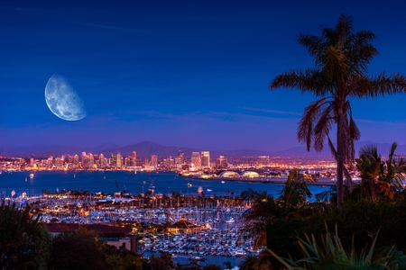 san diego: San Diego Night with Large Moon on the Horizon. San Diego Night Time Panorama. California, United States.