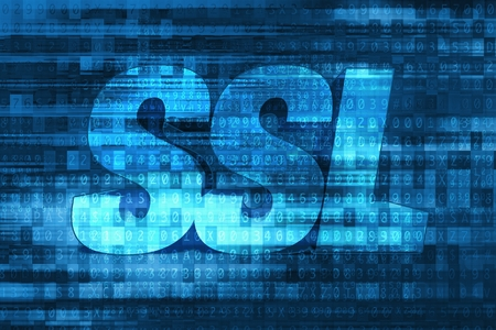 sockets: SSL Certificate Blue Concept. Secure Sockets Layer Certificate. Internet Data Encryption.