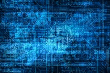 ナノ技術の高度な抽象暗い青色の背景イラスト。回路素子を持つデジタル背景。