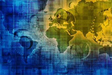 passcode: Digital World Background Concept Internet Background with World Map and Digital Overlay Background. Stock Photo