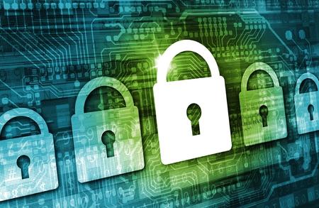 南京錠アイコン、サイバー背景基板要素とオンライン データ セキュリティ概念図。インター ネット セキュリティ技術。