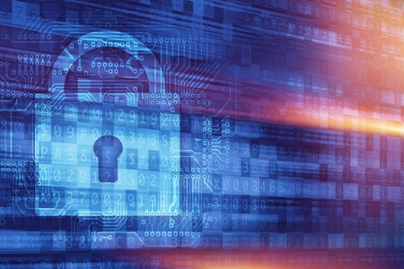 passcode: Online Secure Connection Concept Illustration with Padlock and Cyber Background. Online Encryption Technologies. Stock Photo