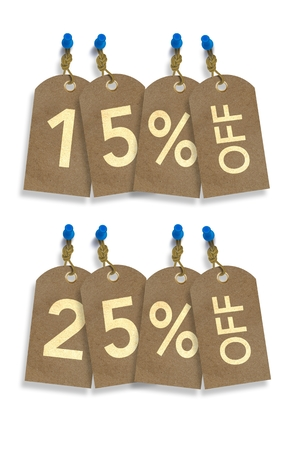 rebates: Special Sale Paper Tags Isolated on White. 15% and 25% Off Discount Tags Illustration