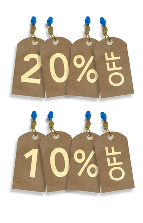 rebates: Special Sale Paper Tags Isolated on White. 10% and 20% Off Discount Tags Illustration.