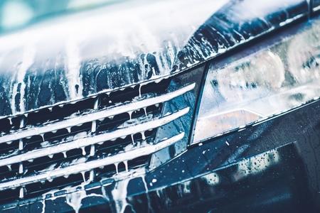clean car: Car Foaming Closeup. Car Active Foam Cleaning Theme.