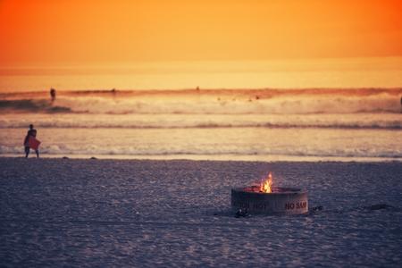 oceanside: Beach Fire Pit. Oceanside, California Burning Fire Pit on the Beach.