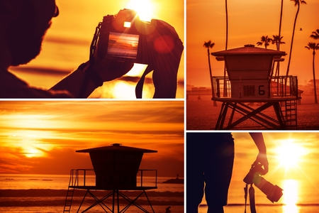 oceanside: Beach Sunset Photography Collage. Young Photographer with Camera Taking Pictures at Sunset. California Oceanside Beach. Nature and Travel Photography Theme.