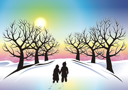 winter wonderland: Children in Winter Wonderland Abstract Illustration. Stock Photo