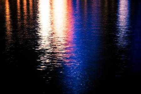 reflection: Colorful Urban Water Reflections Photo . Water Reflections At Night.