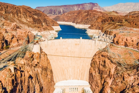mead: Famous Hoover Dam at Lake Mead, Nevada and Arizona Border, United States.