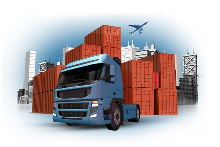air port: Cargo and Custom Concept with International Containers Shipment, Truck and Cargo Airplane on the Sky. 3D Cargo Concept Illustration.