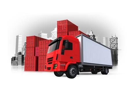 貨物と配送 3 D コンセプト イラスト。赤貨物トラック、貨物コンテナー、都市。コンセプトを出荷しています。 写真素材