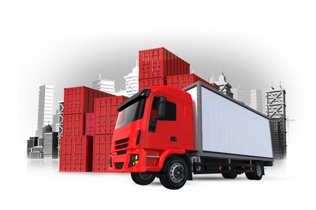 Cargo and Shipping 3D Concept Illustration. Red Cargo Truck, Cargo Containers and the City. Shipping Concept.