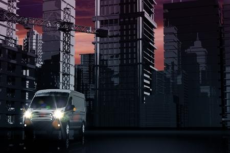 Bestelwagen Delivery concept 3D-afbeelding. Cargo, Logistieke en scheepvaart in de stad. Stockfoto