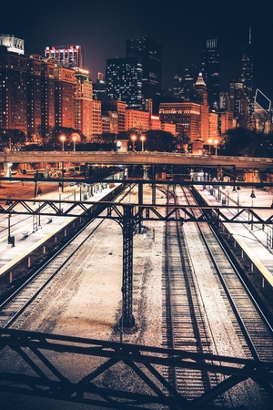 chicago city: City of Chicago at Night. Illinois Railroads. Skyline Chicago, Illinois, United States.