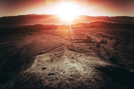 hottest: Sunset in Death Valley National Park. Below Sea Level Basin in Nevada, United States. The Hottest Place on Earth Stock Photo
