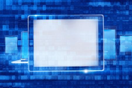 Digital Computer Devices. Mobiele apparaten Concept Illustratie met Overlay Abstract Code. Stockfoto