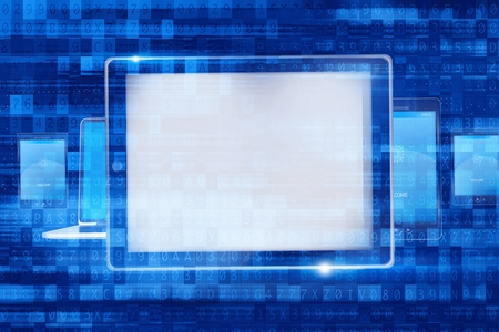laptop screen: Digital Computer Devices. Mobile Devices Concept Illustration with Overlay Abstract Code .