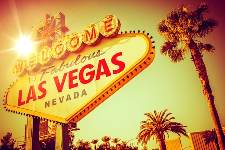 sign: World Famous Las Vegas Nevada. Vegas Strip Entrance Sign in 80s Vintage Color Grading. United States of America.