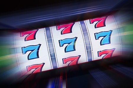 machine: Triple Seven Slot Machine Win. Casino Classic Slot Machine Concept Photography.