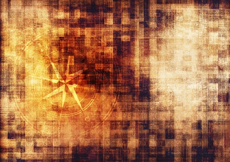 ビンテージのミステリー分泌コード概念図とコンパス ローズ。 写真素材